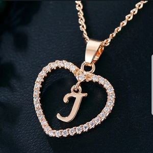 Gold Tone Letter J Love Heart Crystal Necklace